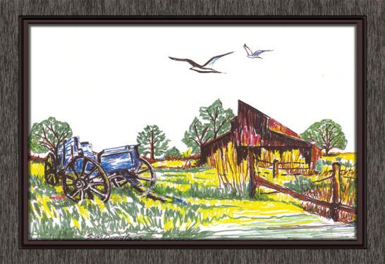 Country Barn with Wagon